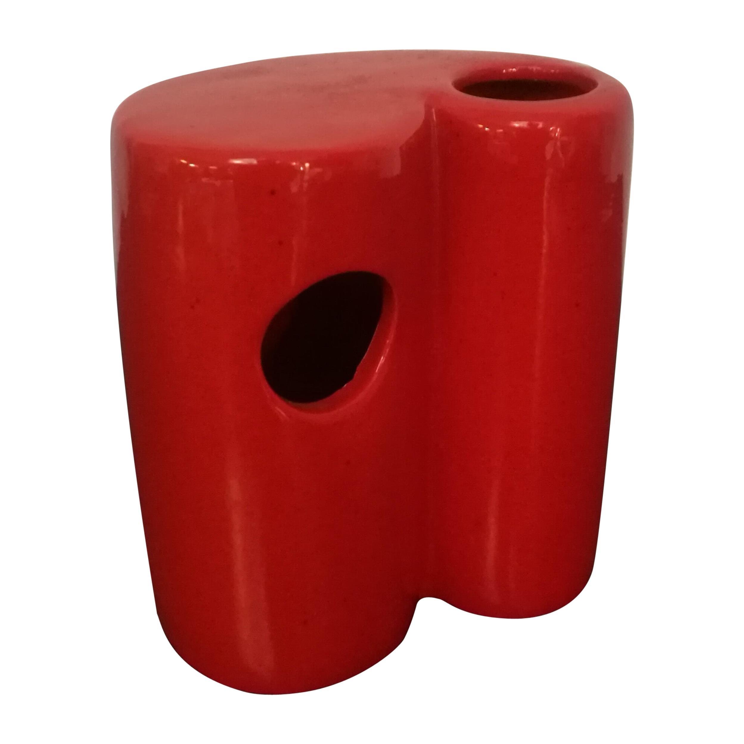 Italian Red Glazed Ceramic Vase, 1970s