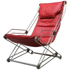 Italian Red Leather and Chromed Steel Red Armchair, 1970s