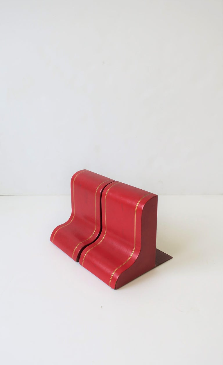 Italian Red Leather and Gold Bookends For Sale 5