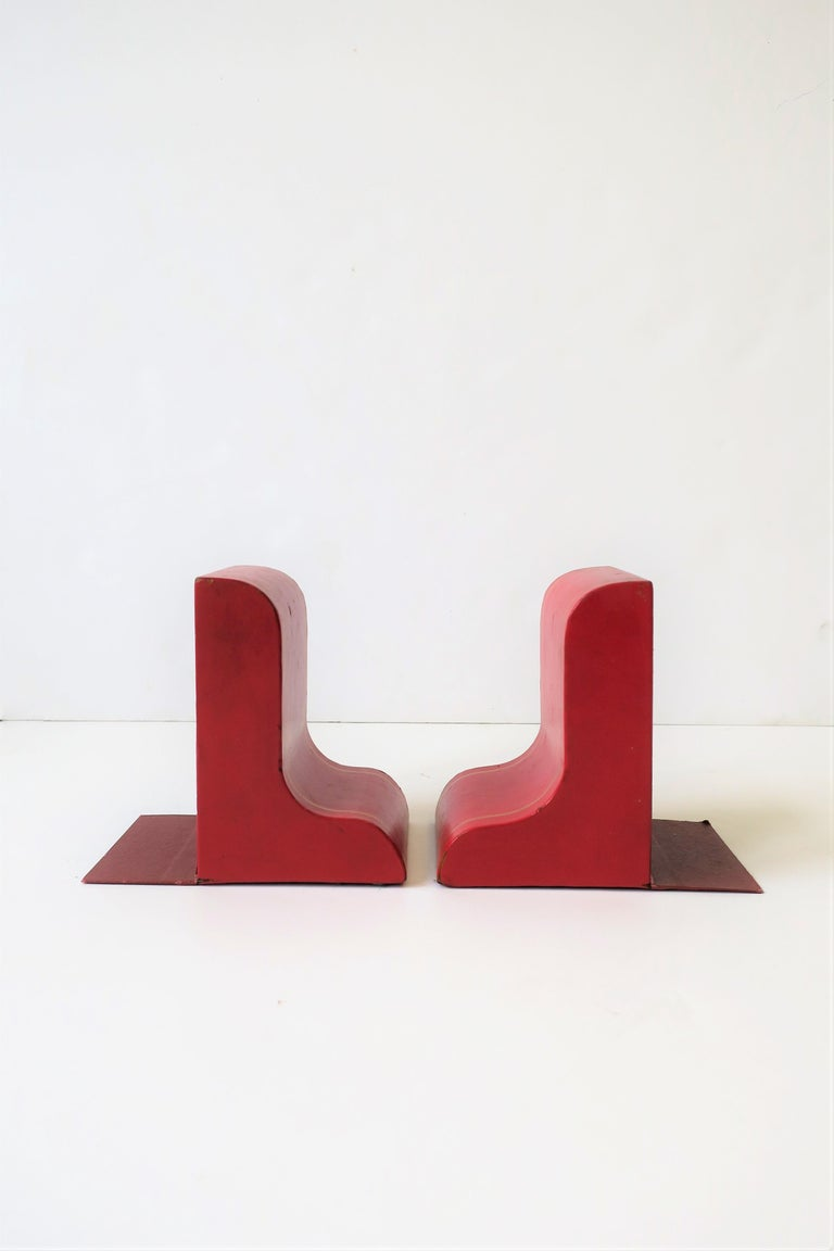 Italian Red Leather and Gold Bookends For Sale 6