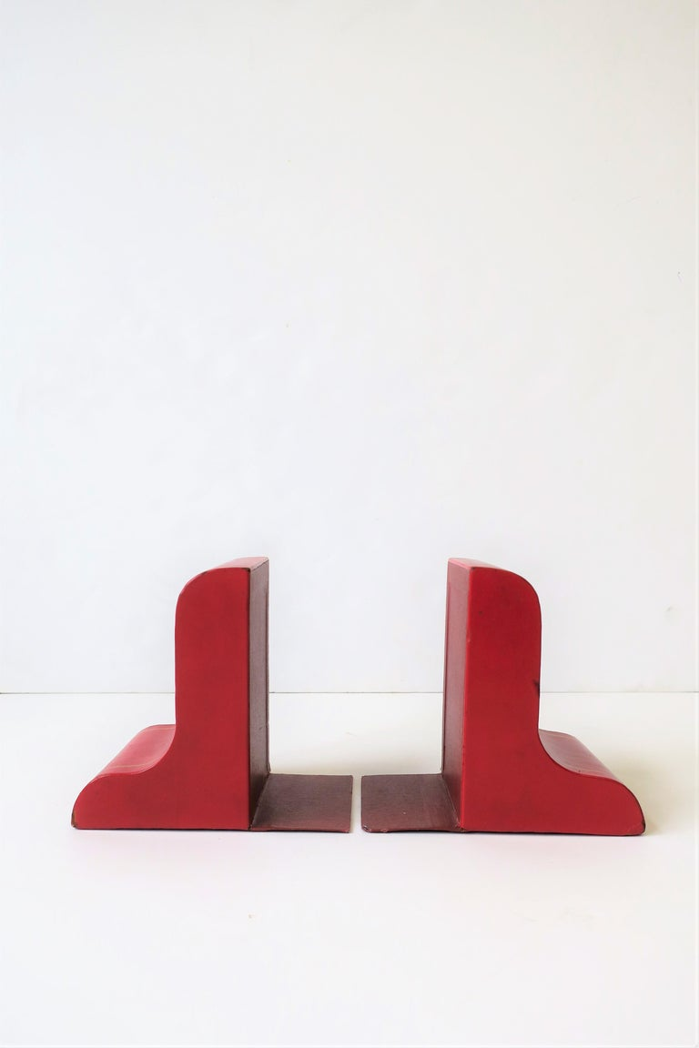 Italian Red Leather and Gold Bookends For Sale 7