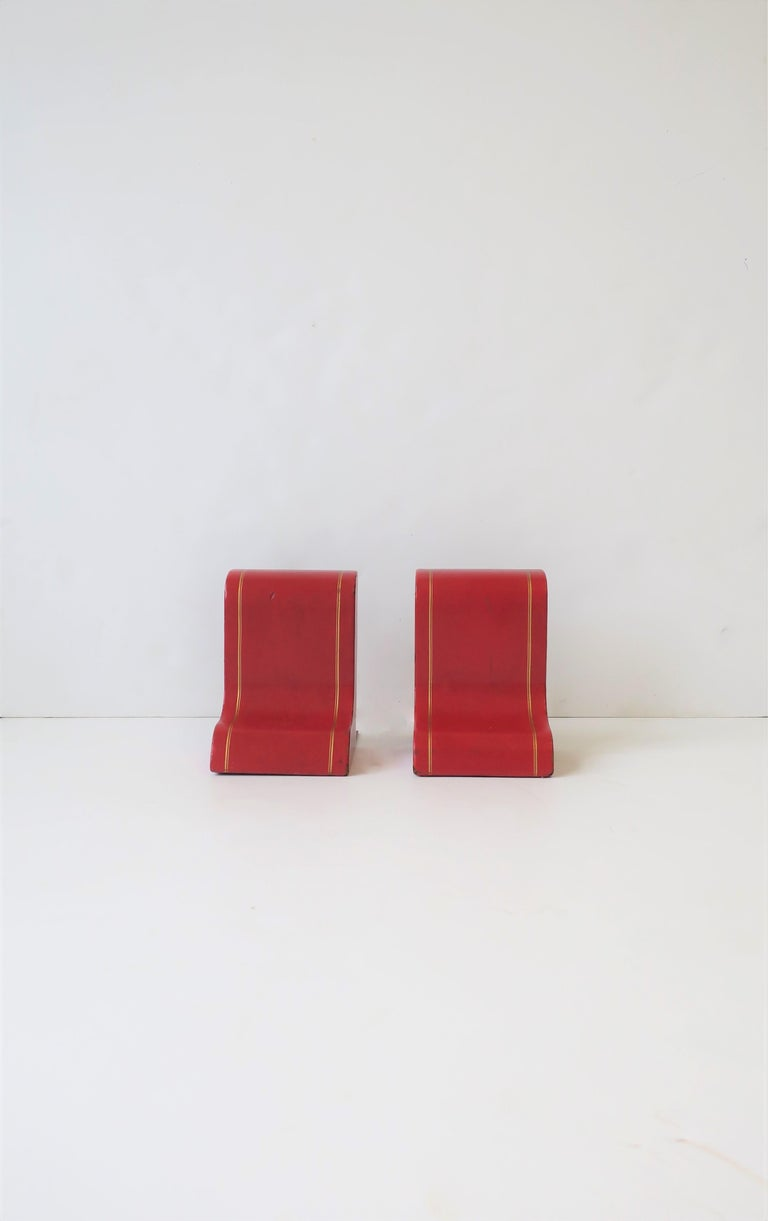 Italian Red Leather and Gold Bookends For Sale 8