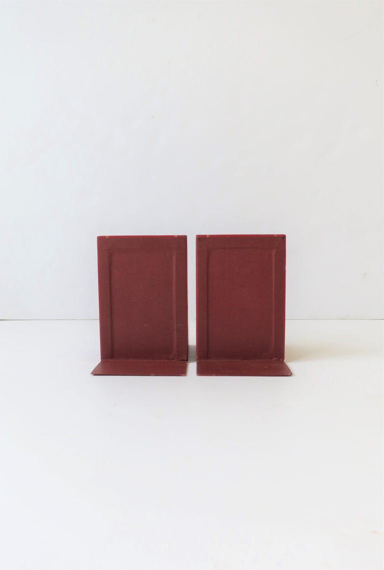 Italian Red Leather and Gold Bookends For Sale 9