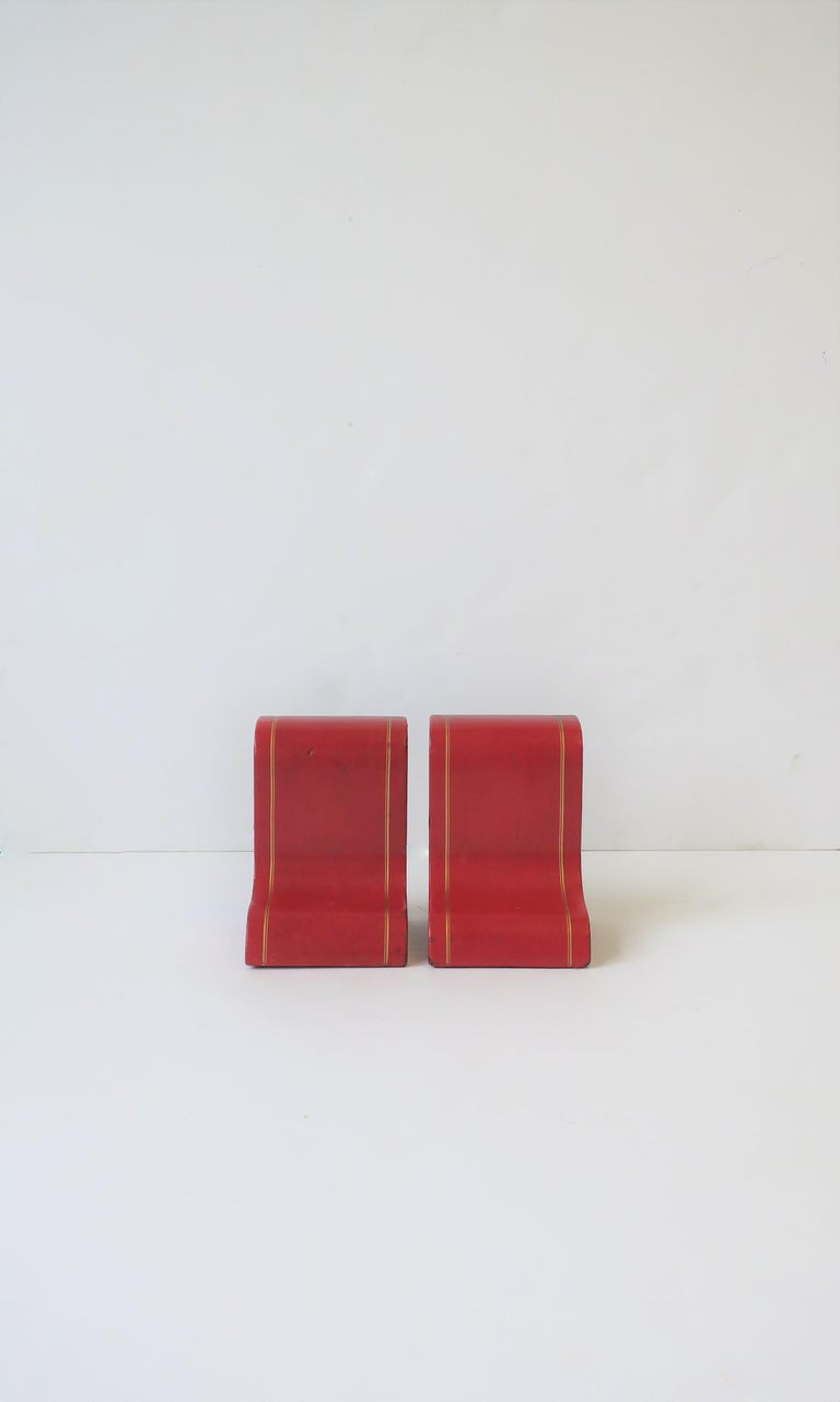 Embossed Italian Red Leather and Gold Bookends For Sale