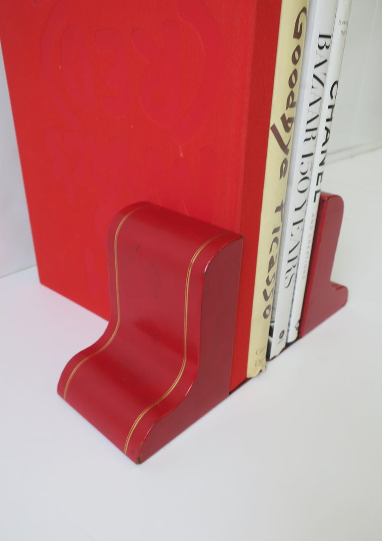 20th Century Italian Red Leather and Gold Bookends For Sale
