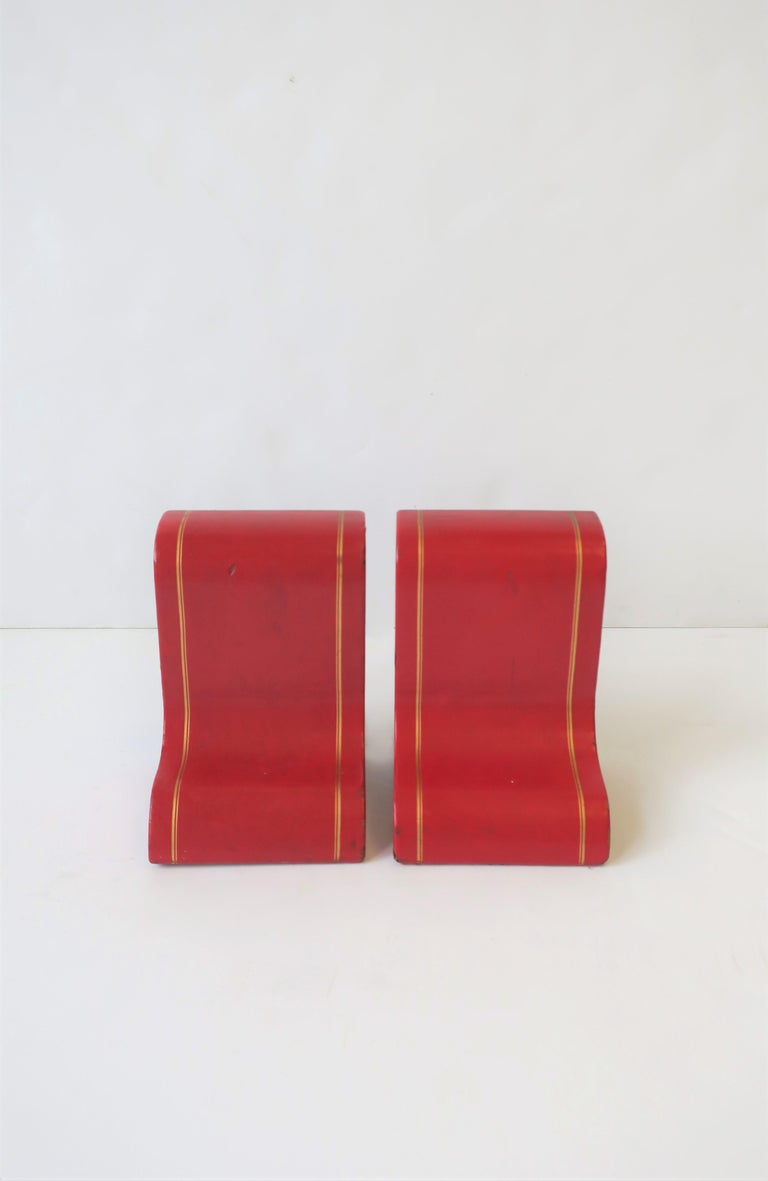 Italian Red Leather and Gold Bookends For Sale 1