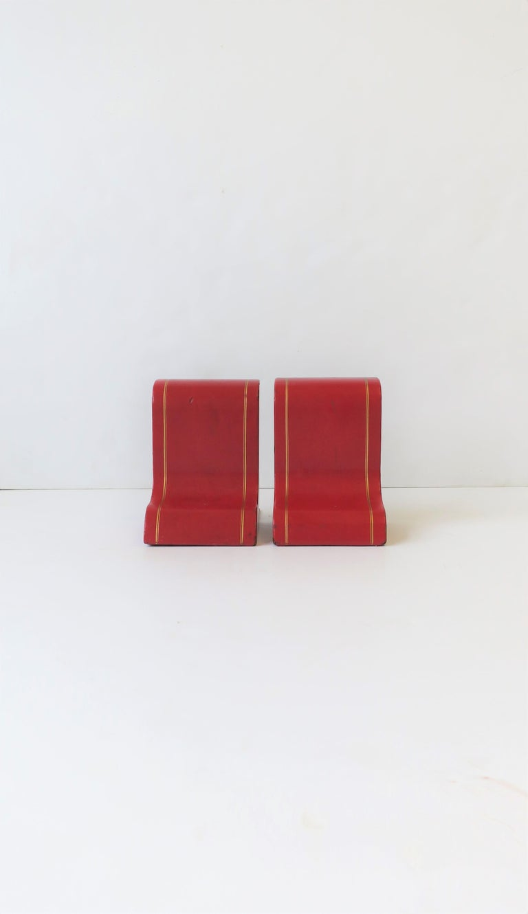 Italian Red Leather and Gold Bookends For Sale 2