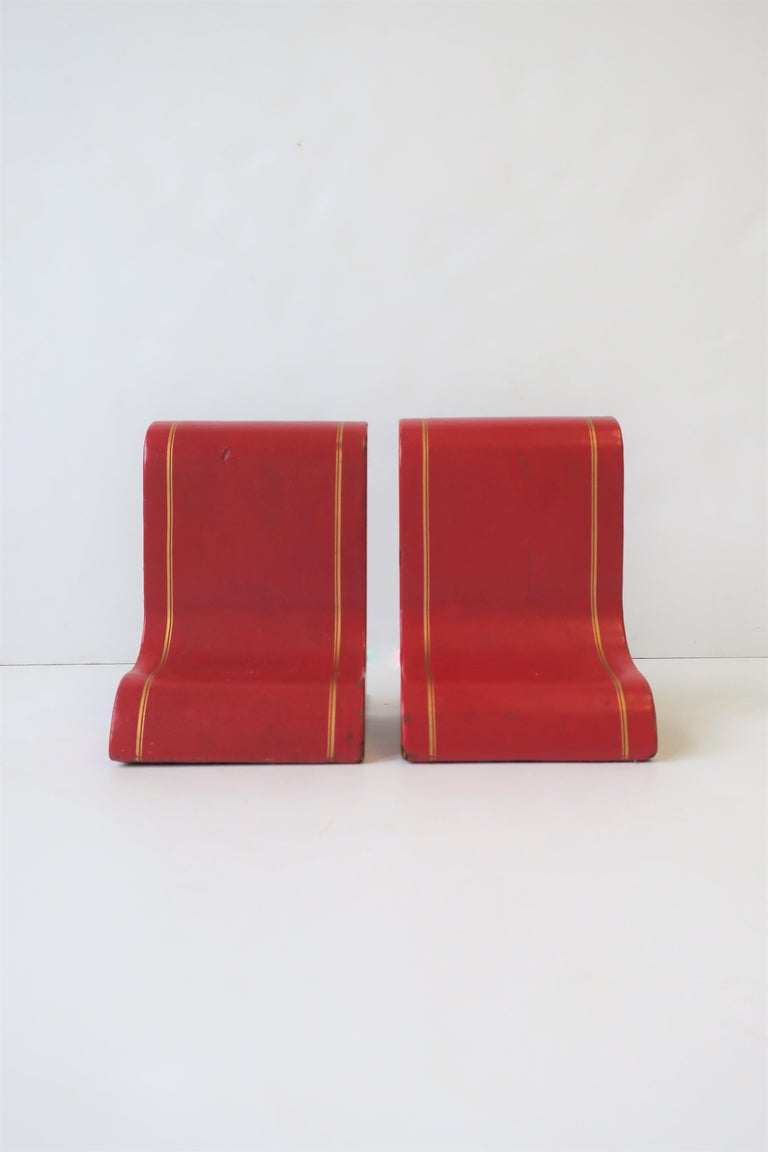 Italian Red Leather and Gold Bookends For Sale 3