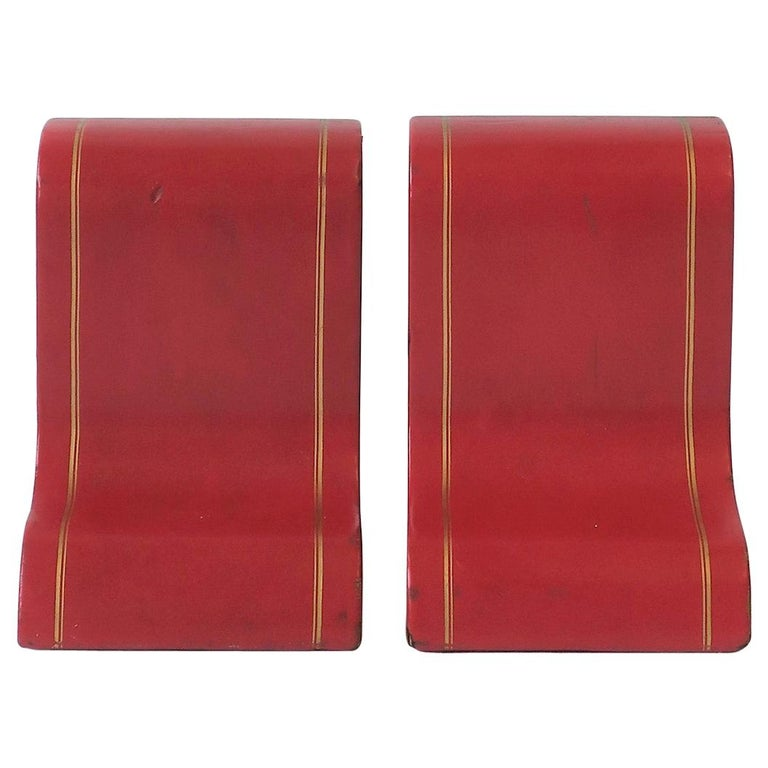 Italian Red Leather and Gold Bookends For Sale