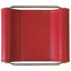 Italian Red Leather Jewelry Dish Vide-Poche or Desk Vessel