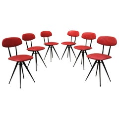 Italian Red Leatherette and Metal Legs Chairs, 1960s