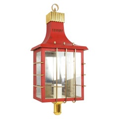 Italian Red Metal, Glass and Brass Midcentury Sconce