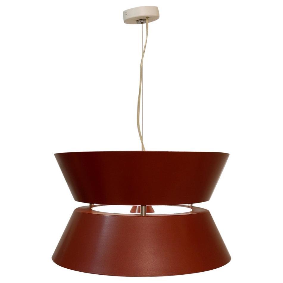 Italian Red Metal Pendant Lamp, 1960s