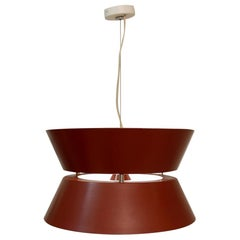 Italian Red Metal Pendant Lamp, 1960s