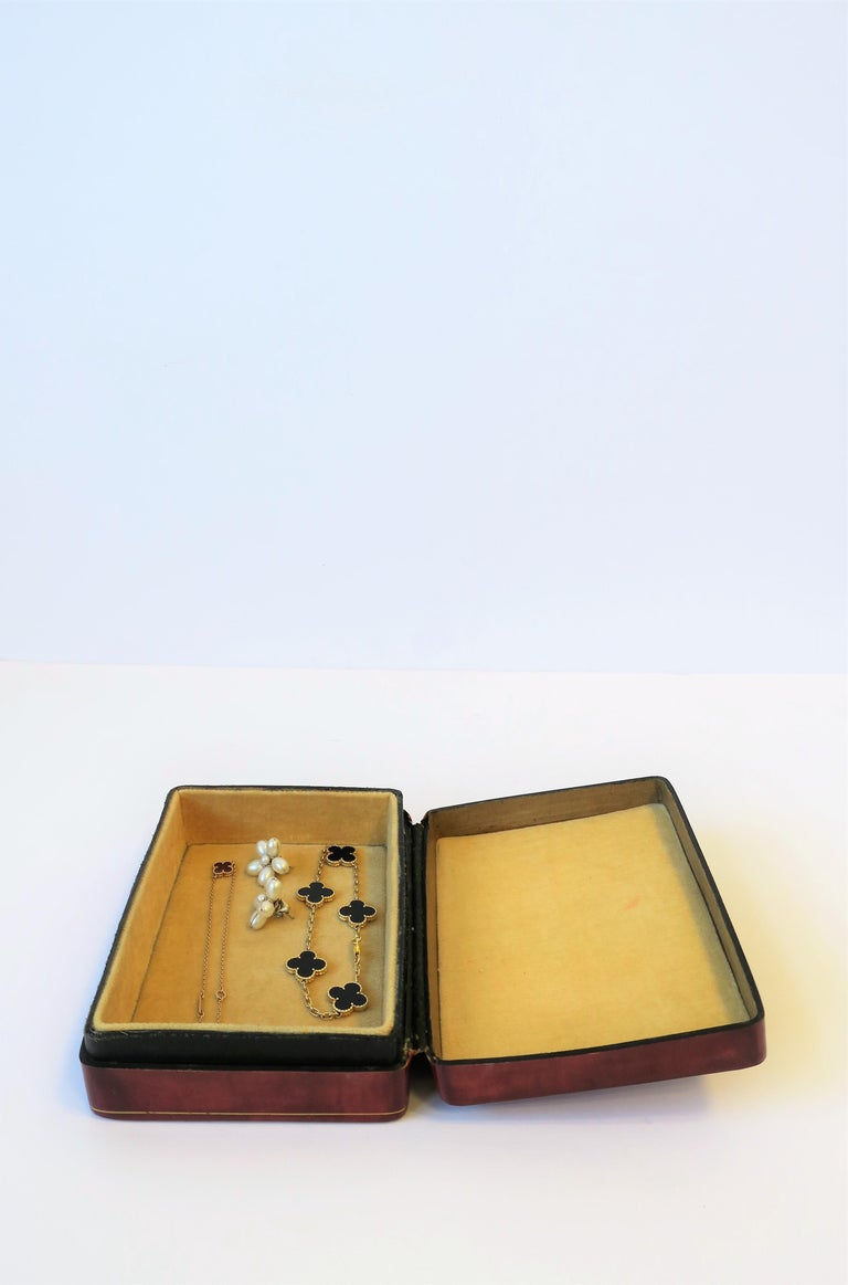 Italian Red Ox Blood Vintage Leather Box For Sale 7