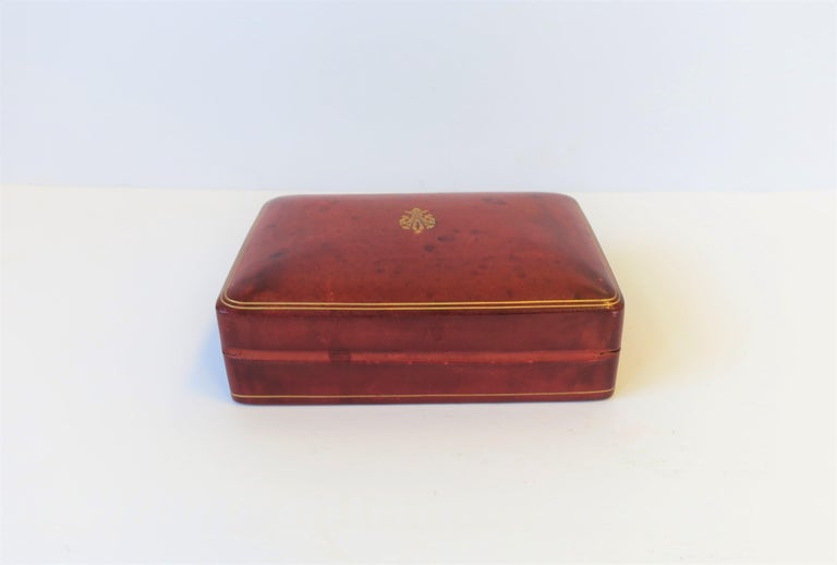 Italian Red Ox Blood Vintage Leather Box For Sale 10