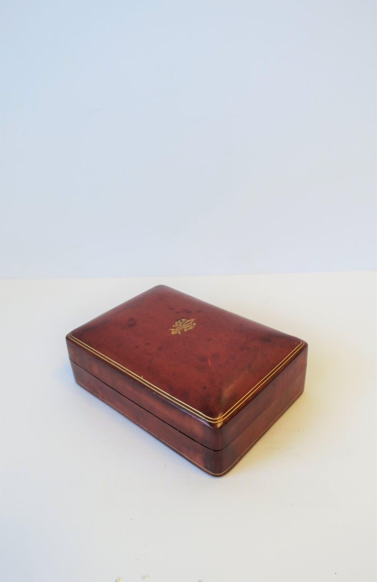 Embossed Italian Red Ox Blood Vintage Leather Box For Sale