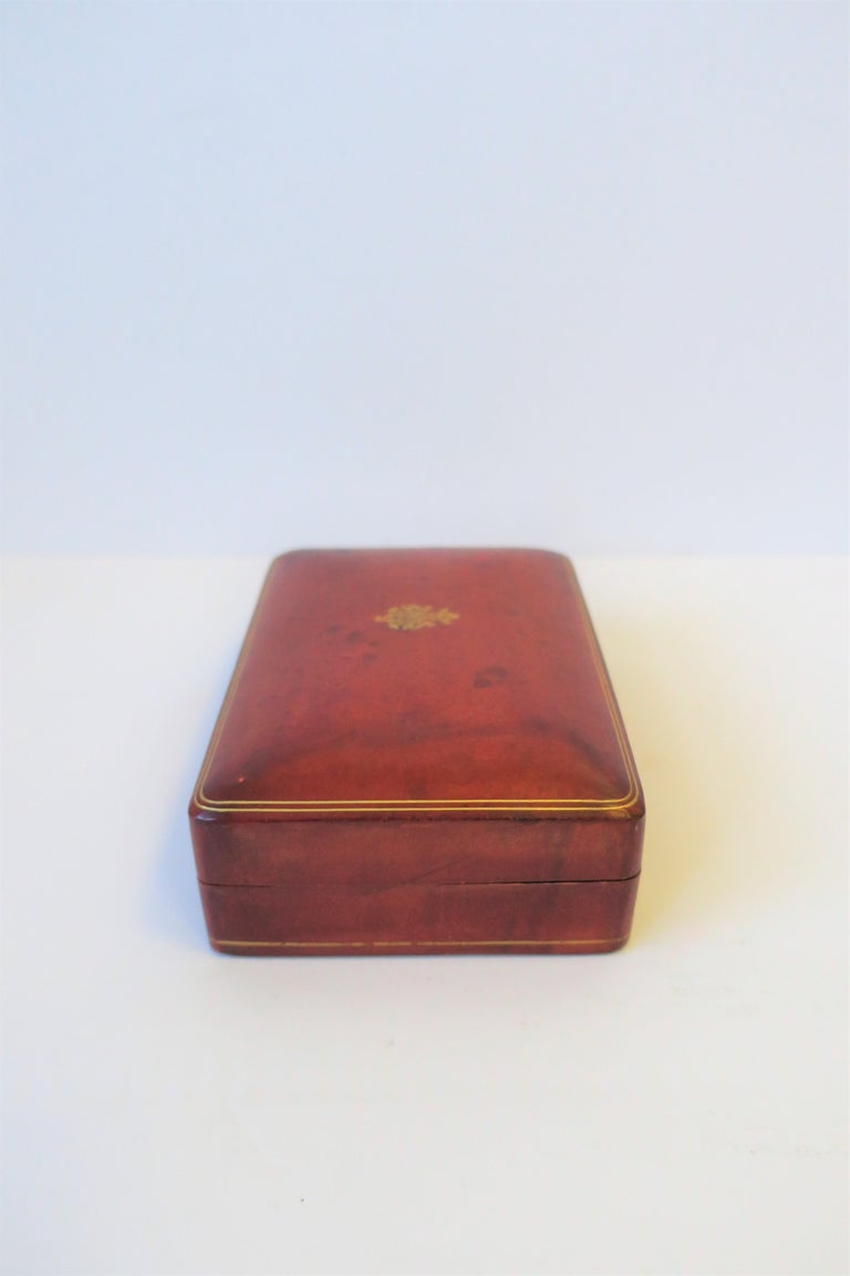 Italian Red Ox Blood Vintage Leather Box For Sale 2