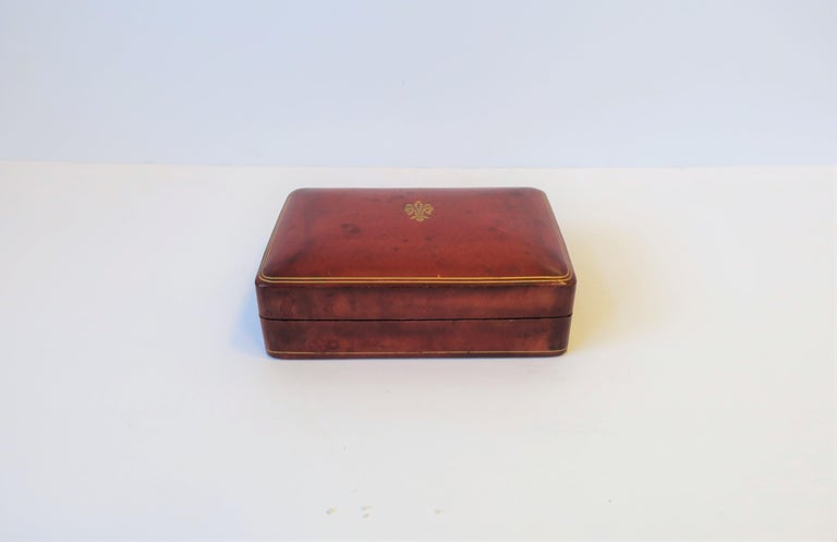 Italian Red Ox Blood Vintage Leather Box For Sale 4