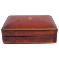 Italian Red Burgundy and Gold Leather Box