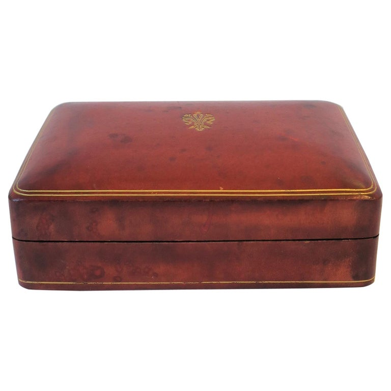Italian Red Ox Blood Vintage Leather Box For Sale