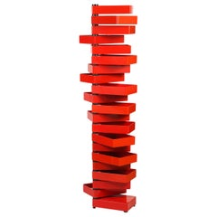 Italian Red Revolving Acrylic Cabinet by Shiro Kuramata
