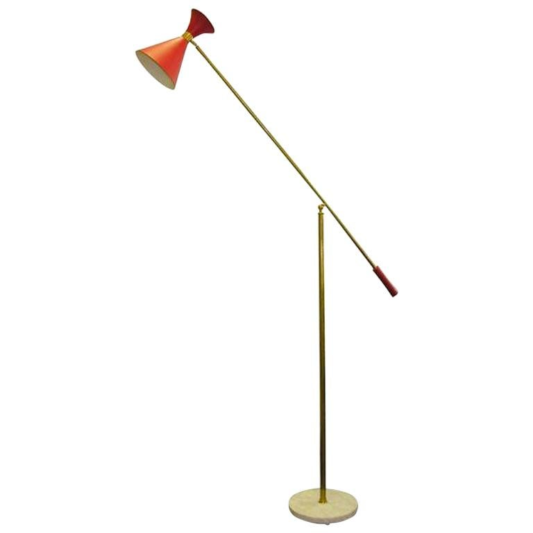 Italian Red Stilnovo Cone Floor Lamp For Sale