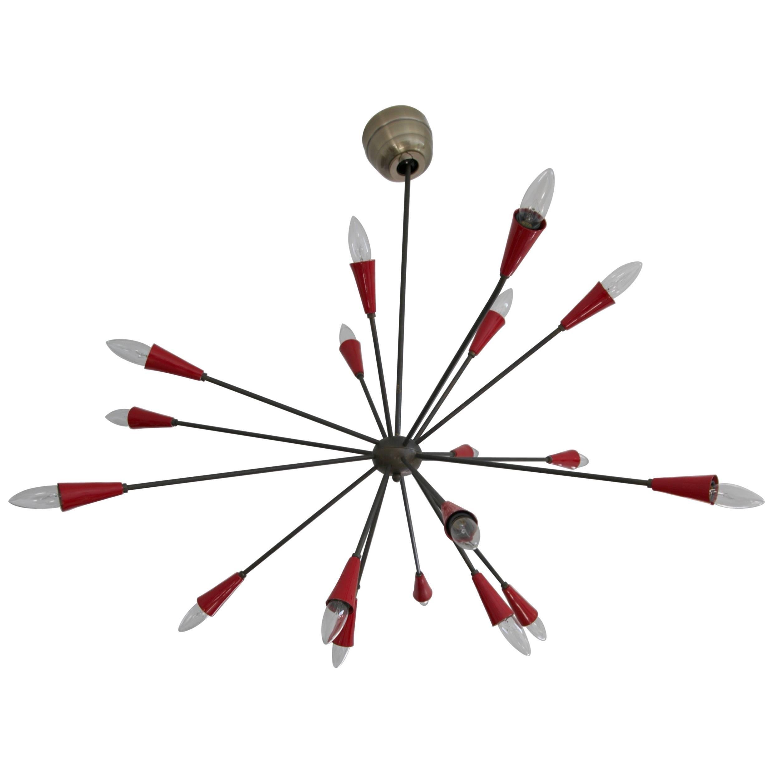 Stilnovo Attributed 17-Arm Red Sputnik Chandelier, circa 1950