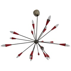 Stilnovo Attributed 17-Arm Red Sputnik Chandelier, circa 1950