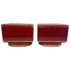Italian Red Vintage Nightstands, 1970s