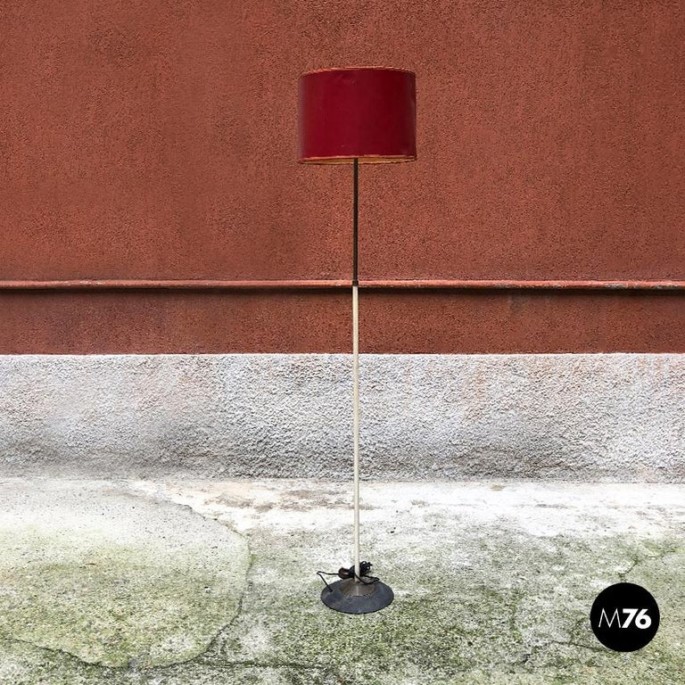Italian red, white and brass details floor lamp by Stilnovo, 1950s.