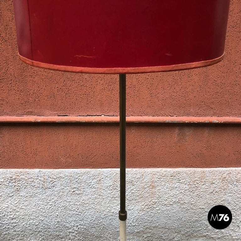 European Italian Red, White and Brass Details Floor Lamp by Stilnovo, 1950s For Sale