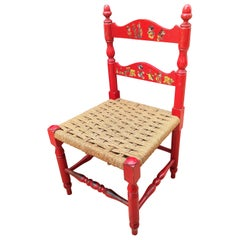 Italian Red Wood and Rope Rush Kids Children Chair with Disney Graphics
