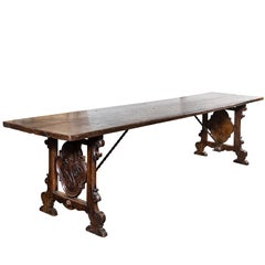 Italian Refractory Table with Unique Carvings, circa 1900