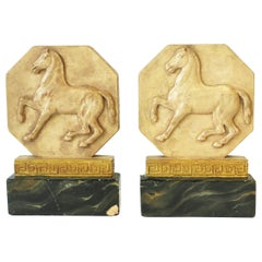 Italian Regency Bookends with Horse and Gold Greek-Key Design, Pair