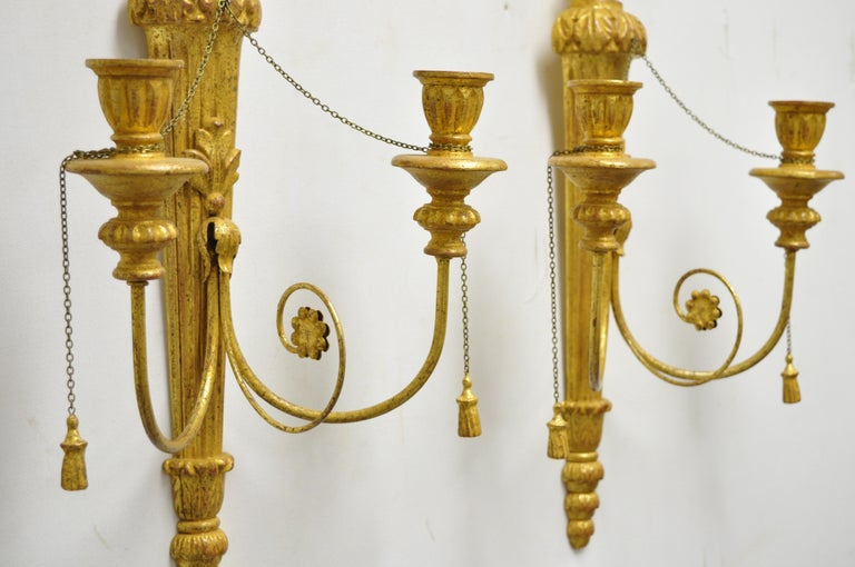 Italian Regency Carved Wood Gold Giltwood Plume Prince of Wales Sconces, a Pair For Sale 5