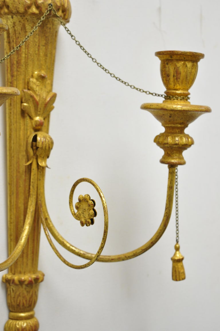 Italian Regency Carved Wood Gold Giltwood Plume Prince of Wales Sconces, a Pair For Sale 1
