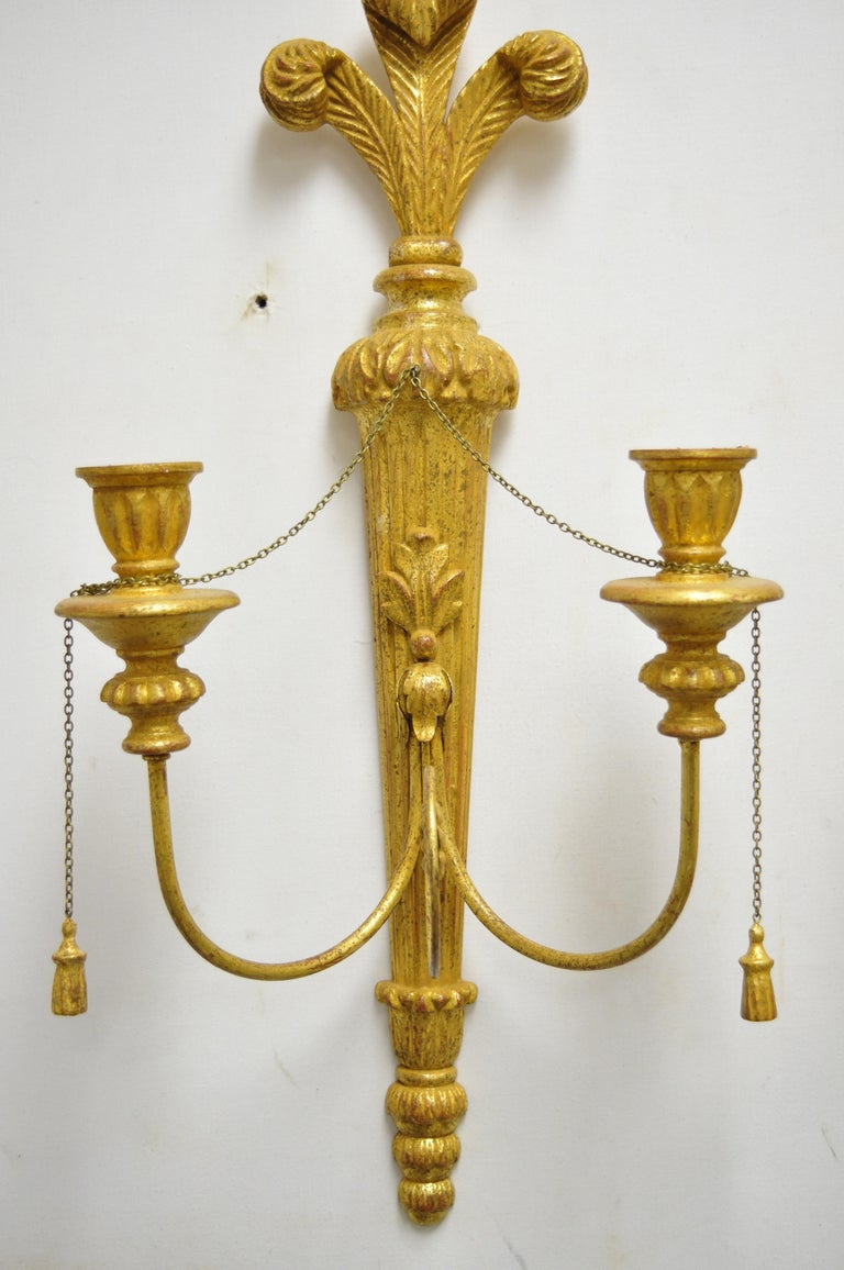 Italian Regency Carved Wood Gold Giltwood Plume Prince of Wales Sconces, a Pair For Sale 2
