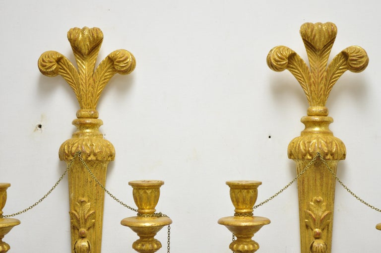 Italian Regency Carved Wood Gold Giltwood Plume Prince of Wales Sconces, a Pair For Sale 3