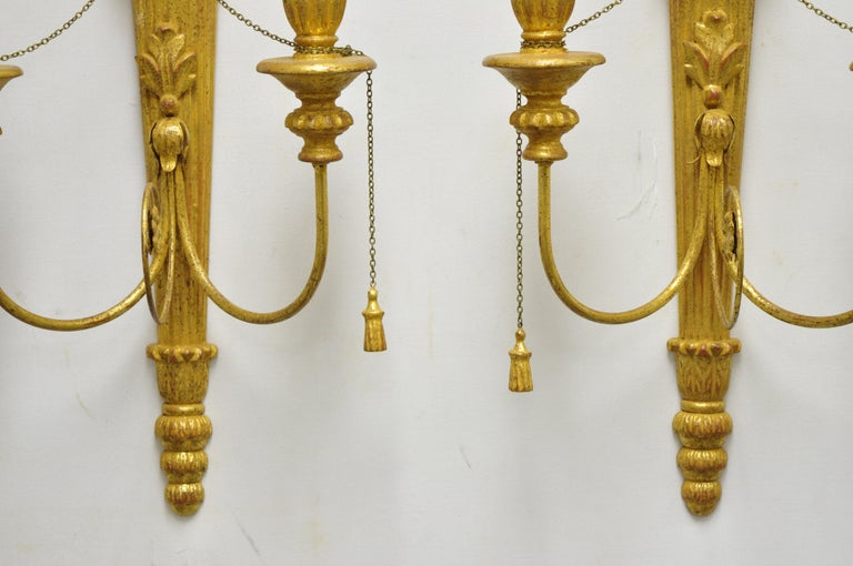 Italian Regency Carved Wood Gold Giltwood Plume Prince of Wales Sconces, a Pair For Sale 4