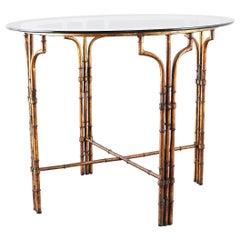 Italian Regency Faux-Bamboo Gilt Iron Breakfast Table