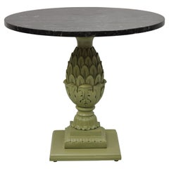 Italian Regency Green Pineapple Pedestal Base Round Marble Top Accent Side Table