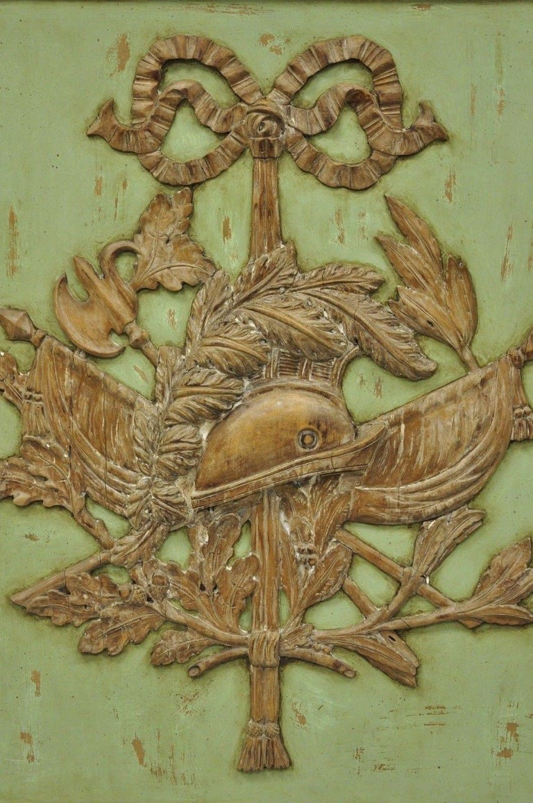 Italian Regency Hand-Carved Wood Coat of Arms Green Wall Plaque Art Frame Panel For Sale 6