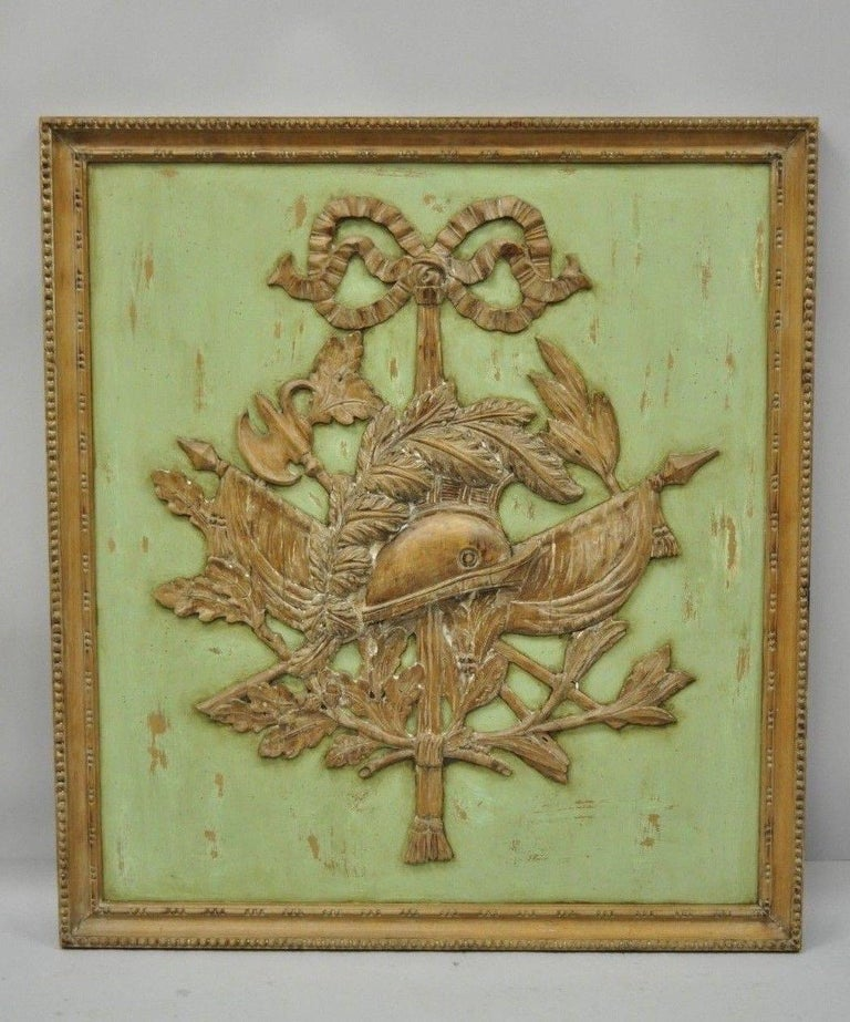 Italian Regency Hand-Carved Wood Coat of Arms Green Wall Plaque Art Frame Panel For Sale 8