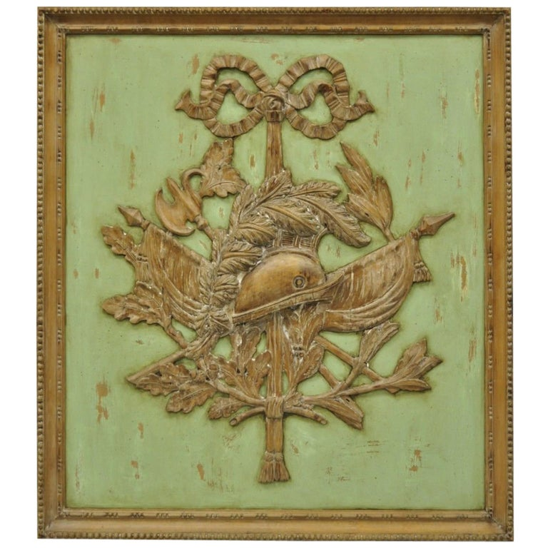 Italian Regency Hand-Carved Wood Coat of Arms Green Wall Plaque Art Frame Panel For Sale