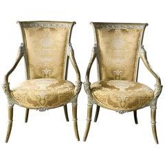 Italian Regency Louis XV Gold Armchairs Sinuous Refined Elegance in Giltwood