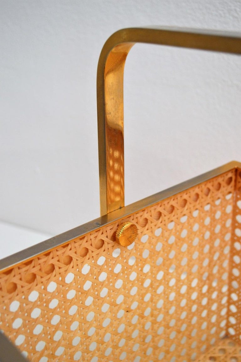 Italian Regency Lucite with Rattan and Gold-Plated Magazine Rack, 1970s For Sale 7