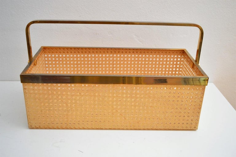 Late 20th Century Italian Regency Lucite with Rattan and Gold-Plated Magazine Rack, 1970s For Sale