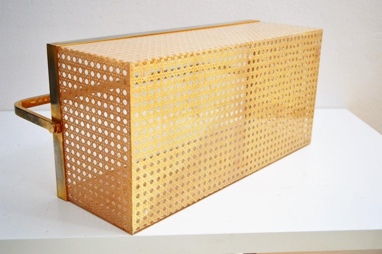 Italian Regency Lucite with Rattan and Gold-Plated Magazine Rack, 1970s For Sale 1