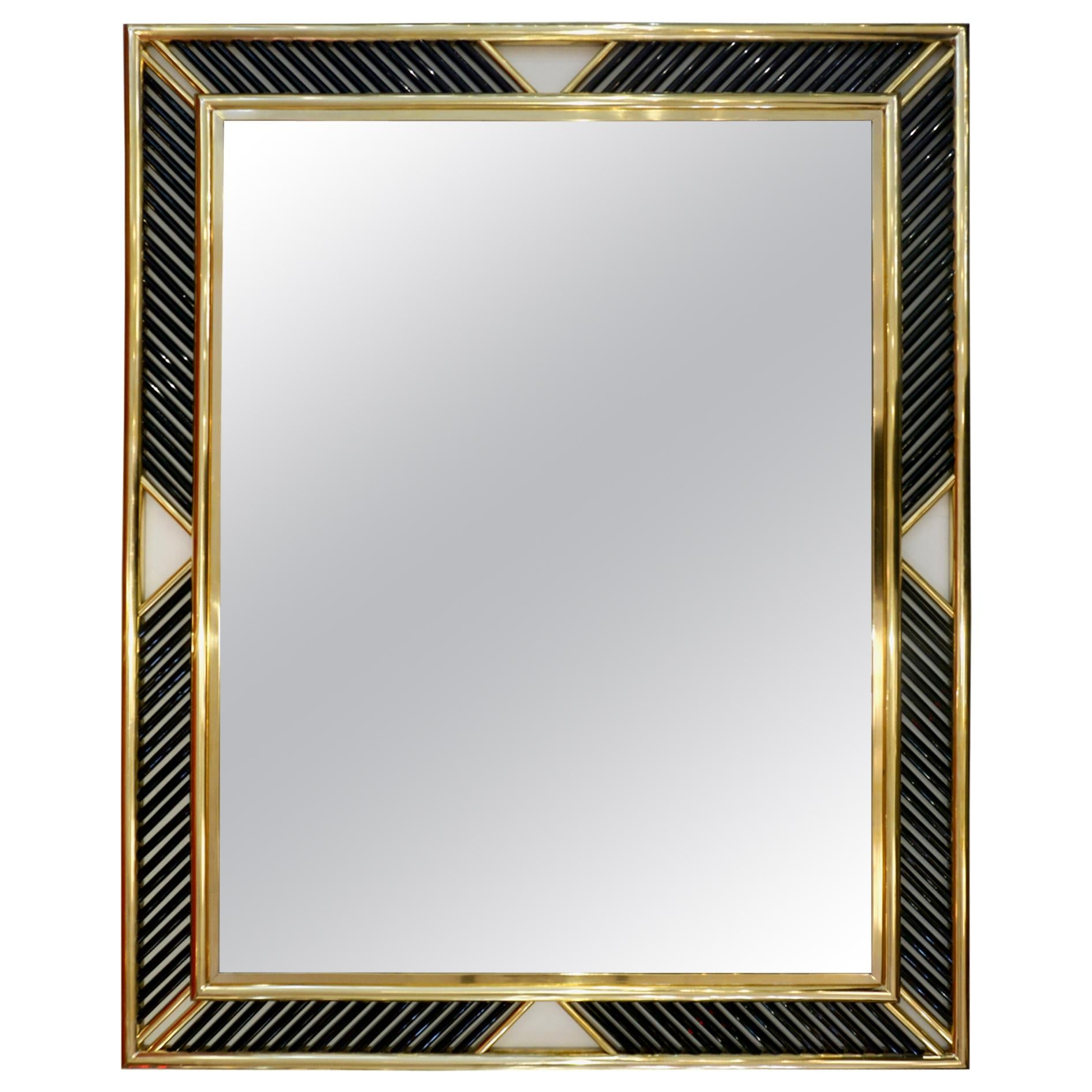 Italian Regency Modern Nickel Geometric Mirror with Black Murano Glass Baguettes